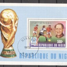 Sellos: NIGER 1978 FOOTBALL, SOCCER, PERF.SHEET, OVERPRINT, USED AF.029. Lote 198274912