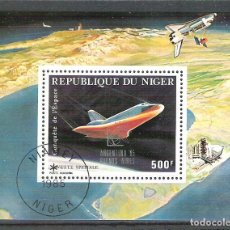 Sellos: NIGER 1985 SPACE, PERF. SHEET, USED R.002. Lote 198274923