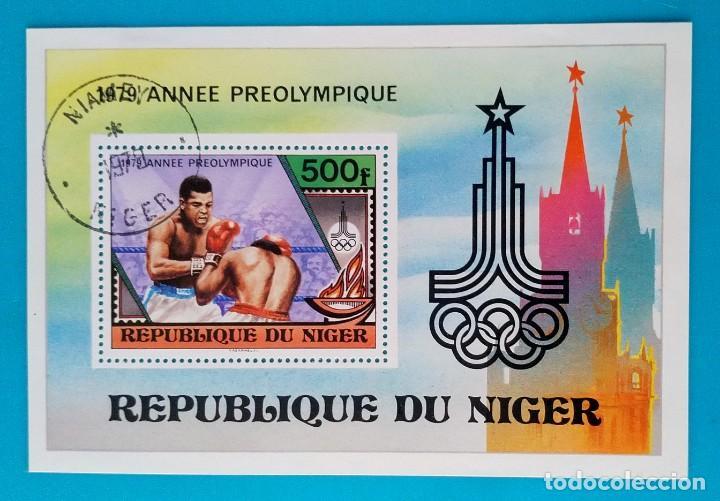 HOJITA SELLOS POSTALES NIGER 1979 JUEGOS OLÍMPICOS MOSCÚ URSS (Sellos - Extranjero - África - Niger)