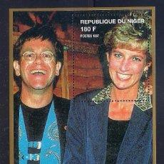 Sellos: NIGER 1997 - LADY DIANA - HB CON ELTON JOHN. Lote 262431435