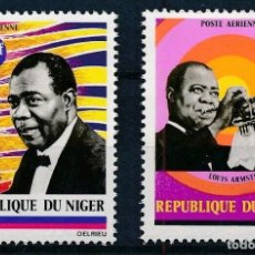 Sellos: NIGER 1971 AÉREO IVERT 168/9 *** HOMENAJE A LUIS AMSTRONG - MÚSICA - PERSONAJES. Lote 284756588