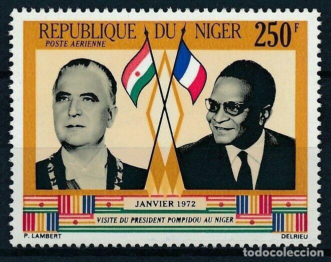 NIGER 1972 AÉREO IVERT 173 *** VISITA DEL PRESIDENTE POMPIDOU A NIGER - PERSONAJES (Sellos - Extranjero - África - Niger)
