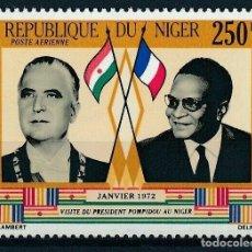 Sellos: NIGER 1972 AÉREO IVERT 173 *** VISITA DEL PRESIDENTE POMPIDOU A NIGER - PERSONAJES. Lote 284756803