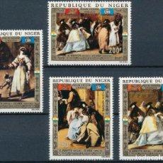 Sellos: NIGER 1972 AEREO IVERT 176/9 *** SALVAR VENECIA - ARTE - PINTURAS DE GUARDI. Lote 289876898