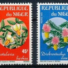 Sellos: NIGER 1973 IVERT 270/3 *** FLORA - FLORES DE AFRICA. Lote 294437153