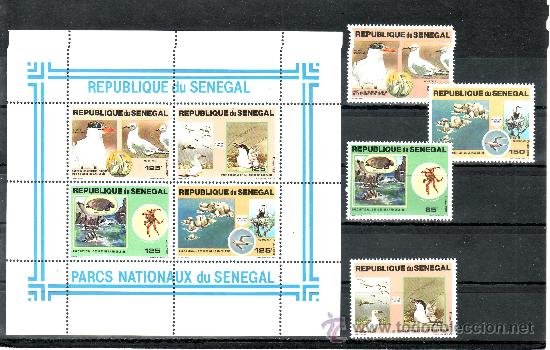 SENEGAL 547/50, HB 24 SIN CHARNELA, FAUNA DEL MAR, PAJAROS, PARQUES NACIONALES, (Sellos - Extranjero - África - Senegal)