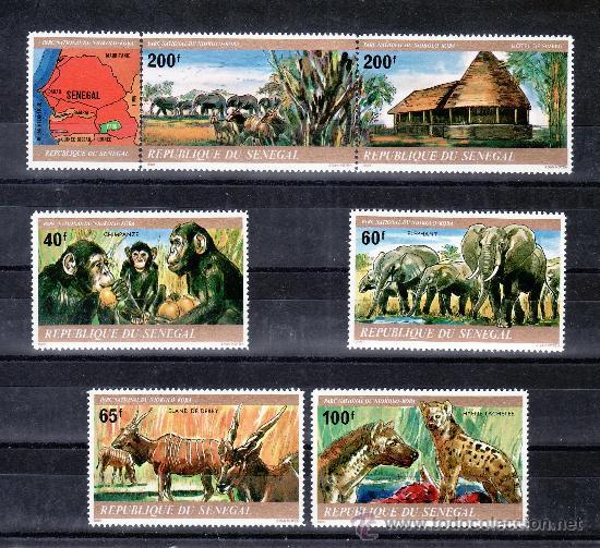 SENEGAL 530/5 SIN CHARNELA, FAUNA, ANIMALES DEL PARQUE NACIONAL DEL NIOKOLO-KOBA (Sellos - Extranjero - África - Senegal)