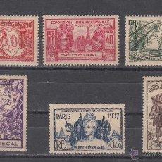 Sellos: SENEGAL 138/43 CON CHARNELA, EXPOSICION INTERNACIONAL DE PARIS. Lote 43441333