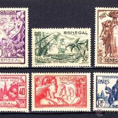 Sellos: SENEGAL 138/43** - AÑO 1937 - EXPOSICION INTERNACIONAL DE PARIS. Lote 52622283