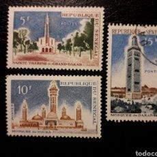 Sellos: SENEGAL. YVERT 242/4. SERIE COMPLETA NUEVA CON CHARNELA Y USADA. EDIFICIOS RELIGIOSOS.. Lote 137682554