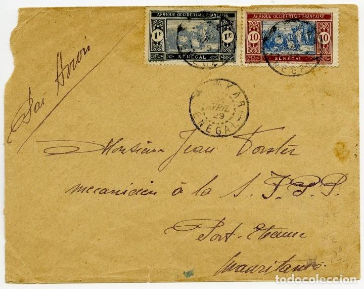 1929, COMPAÑÍA AEROPOSTAL. CORREO AÉREO DE DAKAR (SENEGAL) A PORT ETIENNE (MAURITANIA). (Sellos - Extranjero - África - Senegal)