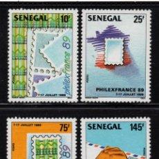 Sellos: SENEGAL 800/03** - AÑO 1989 - EXPOSICIÓN FILATÉLICA INTERNACIONAL PHILEXFRANCE 89. Lote 177176689