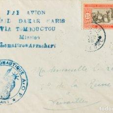 Sellos: SENEGAL. SOBRE YV 76. 1925. 25 CTS ROJO Y NEGRO. CORREO AÉREO DAKAR A VERSALLES (FRANCIA). EN EL FR. Lote 183129252