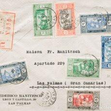 Sellos: SENEGAL. SOBRE 103(2), 108, 72, 76, 85A(2). 1934. 5 CTS NEGRO Y CARMÍN, 25 CTS ROJO Y NEGRO, 30 CTS. Lote 183160731