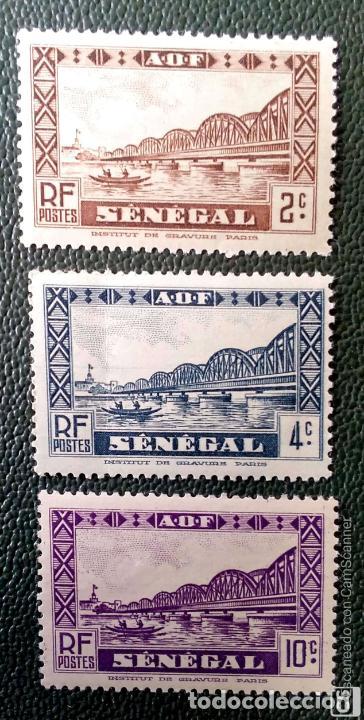 SENEGAL. 115,116,118 PUENTE FAIDHERBE. 1935. SELLOS NUEVOS CON CHARNELA Y NUMERACIÓN YVERT. (Sellos - Extranjero - África - Senegal)
