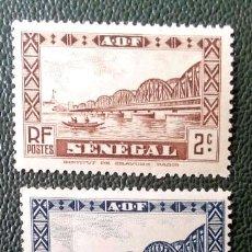 Sellos: SENEGAL. 115,116,118 PUENTE FAIDHERBE. 1935. SELLOS NUEVOS CON CHARNELA Y NUMERACIÓN YVERT.. Lote 201710081