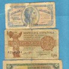 Sellos: 4 BILLETES ESPAÑA. II REPÚBLICA. 0,50, 1, 5 Y 10 PESETAS. Lote 202018181