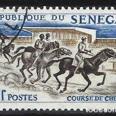 Sellos: SENEGAL 1961 - DEPORTES, CARRERAS DE CABALLOS - USADO. Lote 215943313