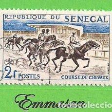 Sellos: SENEGAL - MICHEL 247 - YVERT 207 - DEPORTE - CARRERA DE CABALLOS. (1961). NUEVO MATASELLADO.. Lote 216590968