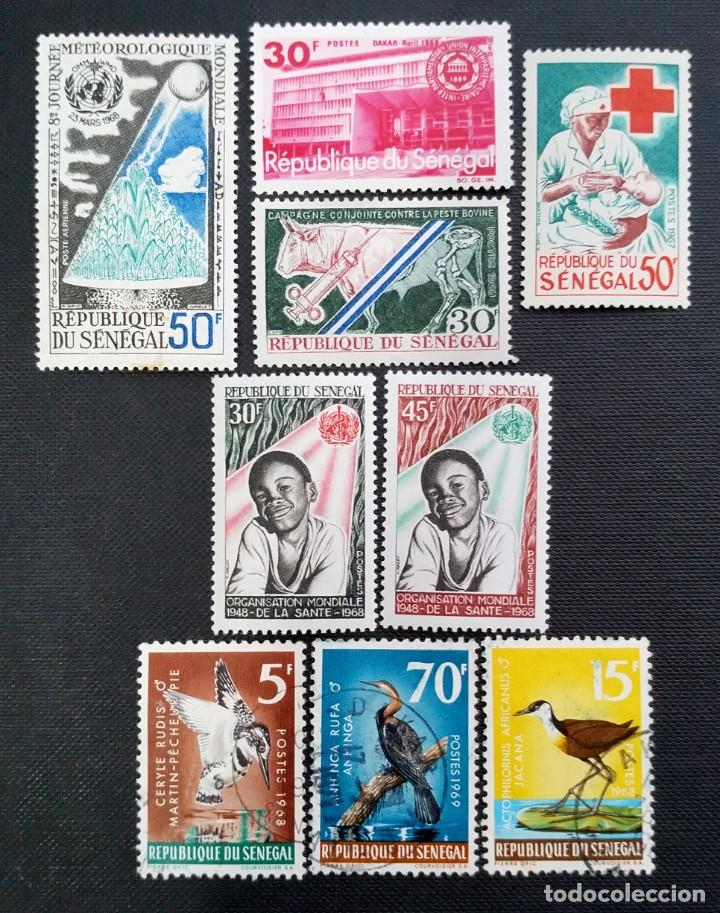 SELLOS POSTALES DE SENEGAL 1968 DÍA MUNDIAL DE LA METEOROLOGÍA, CONGRESO UNIÓN INTERNACIONAL, PÁJARO (Sellos - Extranjero - África - Senegal)