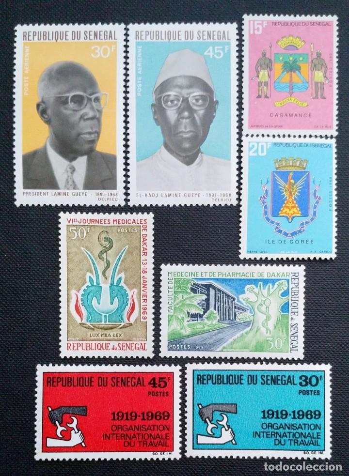 SELLOS POSTALES DE SENEGAL 1969 FACULTAD DE MEDICINA, ANIVERSARIO OIT, ESCUDOS, AMADOU LAMINE GUEYE (Sellos - Extranjero - África - Senegal)
