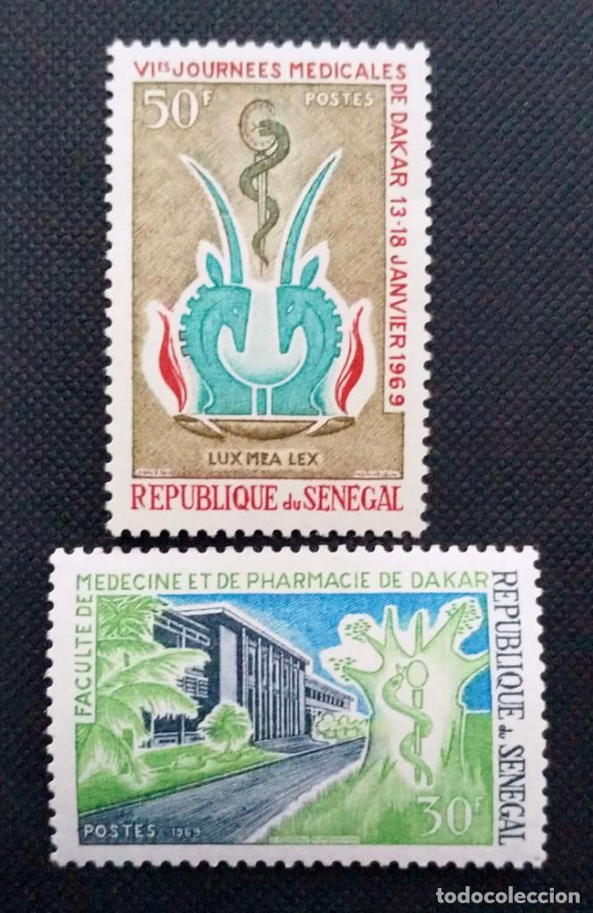 Sellos: SELLOS POSTALES DE SENEGAL 1969 Facultad de medicina, Aniversario OIT, Escudos, Amadou Lamine Gueye - Foto 4 - 219983692
