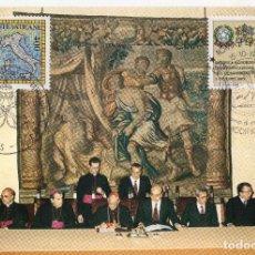 Sellos: VATUCANO + ITALIA TARJETA MAXIMA 1985 MCHEL ,882+ IT1944. Lote 220444571
