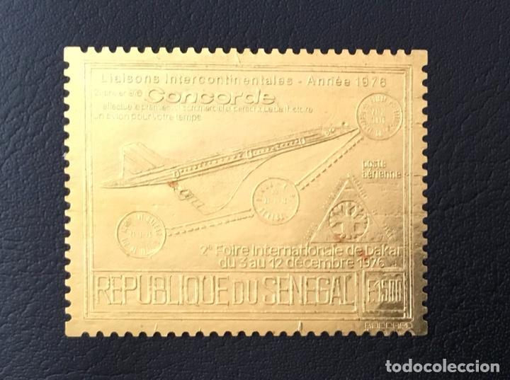 1976-SENEGAL C143B MICHEL 6220 2ª FERIA INTERNAC. DAKAR CONCORDE SELLO ORO FOIL NUEVO SIN CHARNELA (Sellos - Extranjero - África - Senegal)