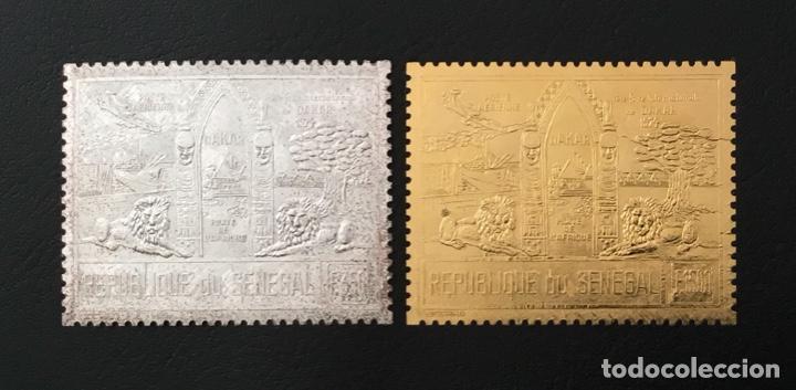 1974-SENEGAL YVERT N. 144/145 FAUNA LEONES DAKAR ORO Y PLATA 2 VALORES MNH ORO FOIL (Sellos - Extranjero - África - Senegal)