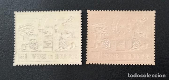Sellos: 1974-SENEGAL YVERT N. 144/145 Fauna Leones Dakar Oro Y Plata 2 Valores MNH ORO FOIL - Foto 2 - 234900030