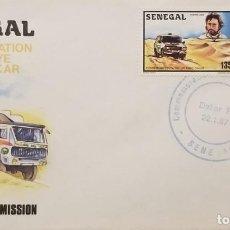 Sellos: O) 1987 SENEGAL, THIERRY SABINE, DAKAR RALLY, ABINE TRUCK, TORRE EIFFEL , DAKAR HUTS. FDC. Lote 245953965