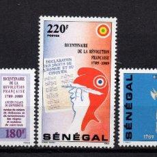 Sellos: SENEGAL 797/99** - AÑO 1989 - BICENTENARIO DE LA REVOLUCIÓN FRANCESA. Lote 276720668