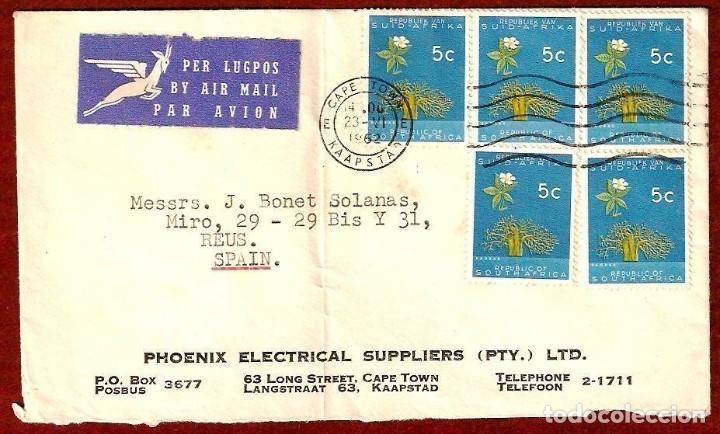 CARTA CIRCULADA DE SOUTH AFRICA A ESPAÑA EN 1962 (Sellos - Extranjero - África - Senegal)