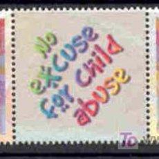 Sellos: SUDAFRICA 2000.- PAREJA DE SELLOS CON BANDELETA INTERIOR. NO HAY EXCUSA PARA LOS ABUSOS INFANTILES. Lote 5162139