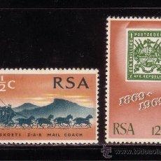Sellos: SUDAFRICA 322/23* - AÑO 1969 - CENTENARIO DEL SELLO. Lote 34537924