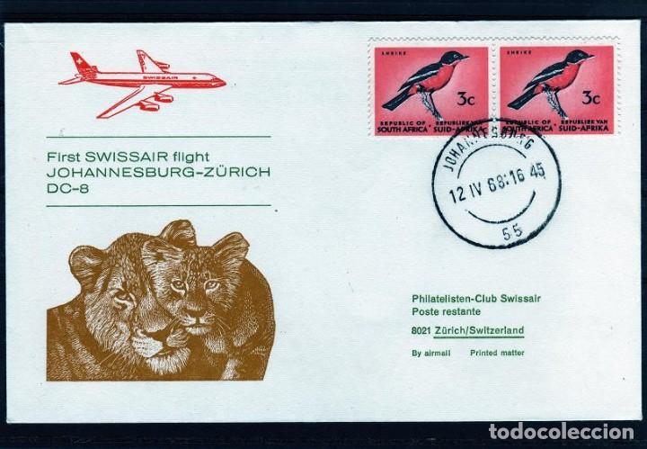 PRIMER VUELO POR SWISSAIR DC-8 JOHANNESBURGO (SUDAFRICA) A ZURICH (SUIZA) AÑO 1968. (Sellos - Extranjero - África - Sudáfrica)