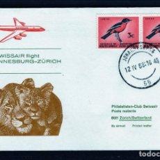 Sellos: PRIMER VUELO POR SWISSAIR DC-8 JOHANNESBURGO (SUDAFRICA) A ZURICH (SUIZA) AÑO 1968. . Lote 64729959