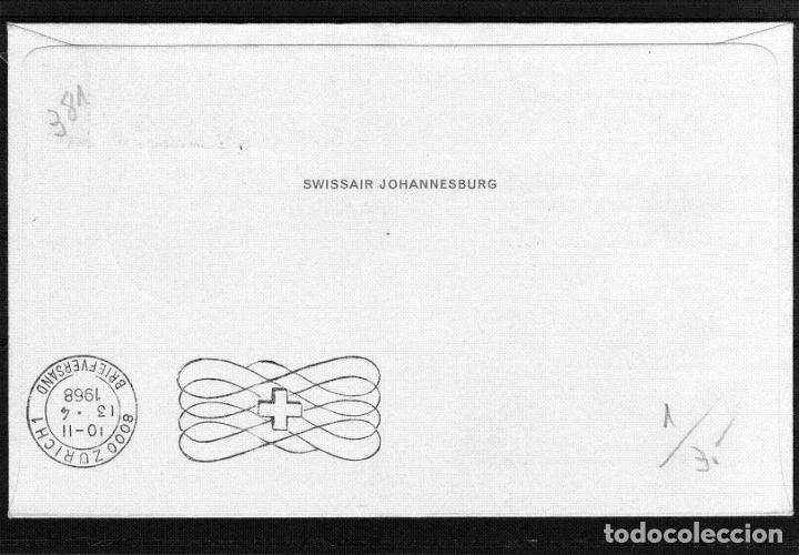 Sellos: PRIMER VUELO POR SWISSAIR DC-8 JOHANNESBURGO (SUDAFRICA) A ZURICH (SUIZA) AÑO 1968. - Foto 2 - 64729959