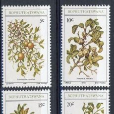 Sellos: BOPHUTHATSWANA 1980 IVERT 56/9 * FLORA - FRUTOS SALVAJES COMESTIBLES DEL PAIS. Lote 68676289