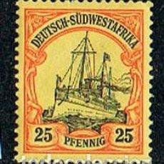 Sellos: SUDÁFRICA, COLONIA DE ALEMANIA Nº 17, THE KAISER'S SHIP HOLENZOLLEN, NUEVO CON SEÑAL DE CHARNELA. Lote 114626719