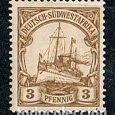 Sellos: SUDÁFRICA, COLONIA DE ALEMANIA Nº 13, THE KAISER'S SHIP HOLENZOLLEN, NUEVO CON SEÑAL DE CHARNELA. Lote 114626983