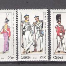 Sellos: CISKEI (REP. SUDAFRICANA) Nº 47/51** UNIFORMES MILITARES. SERIE COMPLETA. Lote 138873266
