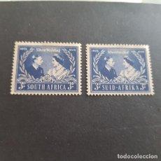 Sellos: SUDÁFRICA,1948,25º ANIV.ESPONSALES REALES,SCOTT 106A-106B*,NUEVOS,FIJASELLO,(LOTE AG). Lote 147591862