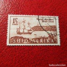 Sellos: SUDÁFRICA,1949,ANIV.LLEGADA COLONOS A NATAL,SCOTT 108B,USADO,(LOTE AG) . Lote 147596430