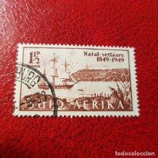 Sellos: SUDÁFRICA,1949,ANIV.LLEGADA COLONOS A NATAL,SCOTT 108B,USADO,(LOTE AG) . Lote 147596482