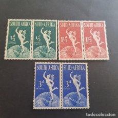 Sellos: SUDÁFRICA,1949,75º ANIVERSARIO DE LA UPU,SCOTT 109-111*,COMPLETA,NUEVOS,FIJASELLO,(LOTE AG) . Lote 147606958