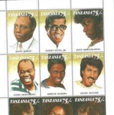 Sellos: TANZANIA:HB. FAMOSOS CANTANTES NEGROS. MNH.. Lote 153554308