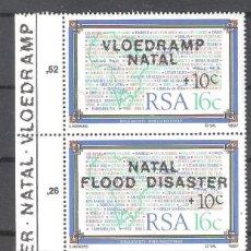 Sellos: REPÚBLICA SUDAFRICANA Nº 636/637** EN AYUDA DE LAS VICTIMAS DE LAS INUNDACIONES DE NATAL. COMPLETA. Lote 157108038
