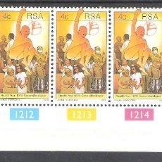 Sellos: REPÚBLICA SUDAFRICANA Nº 464** EN TIRA DE 5 EJEMPLARES. AÑO DE LA SALUD. COMPLETA. Lote 157110390