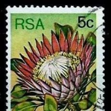 Sellos: SUDAFRICA SCOTT: 479A-(1982) (PROTEA REY (PROTEA CYNAROIDES) USADO. Lote 158967714